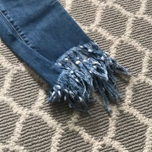 Pants - SIZE SMALL STRETCHY FRING BOTTOM JEANS